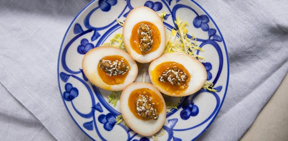 Soft boiled egg with honey walnuts the night market for Cuisine x hong kong margaret
